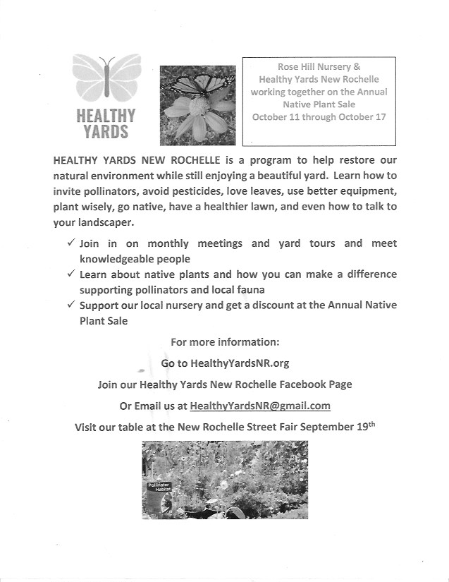 Rose Hill Nurseries  and Healthy Yards New Rochelle  joining forces to assist in  the restoration  of a naturalhabitat!